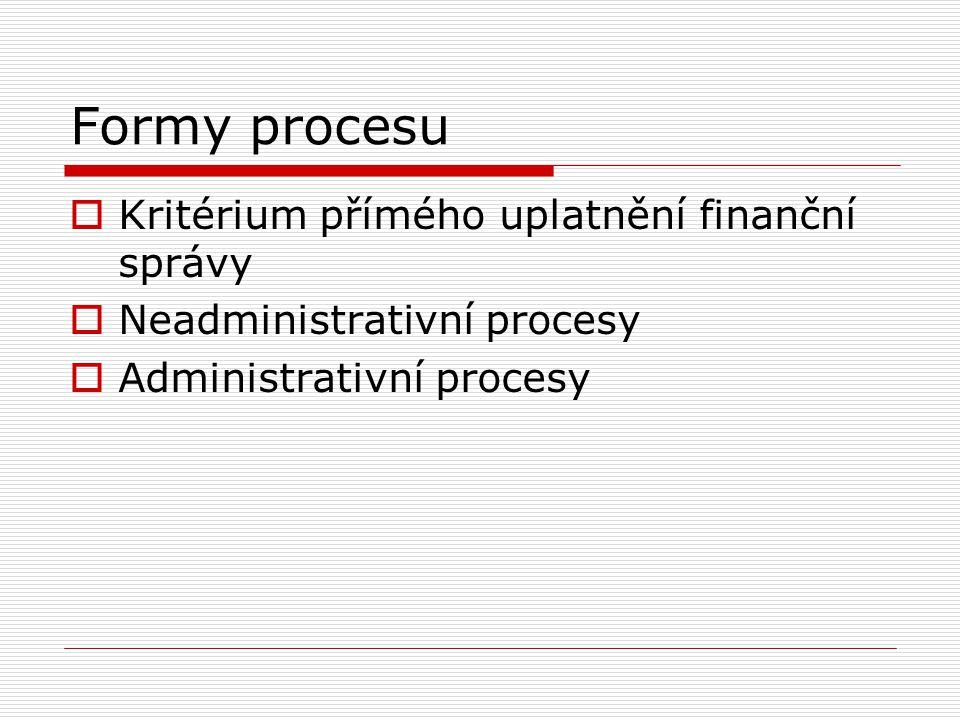 Neadministrativní procesy realizace finančního práva hmotného  Postupy realizace finančního práva mimo rámec činnosti finanční správy Členění: Neadministrativní procesy interní povahy, Neadministrativní procesy externí
