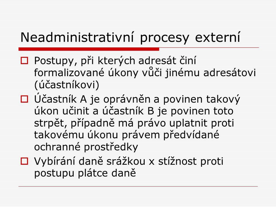 Administrativní procesy  Postupy účastníků a orgánů finanční správy při realizaci finančního práva hmotného  Spojitost s neadministrativními procesy – dohled, kontrola, - daňová tvrzení Členění podle kriteria fóra: Externí administrativní procesy Interní administrativní procesy