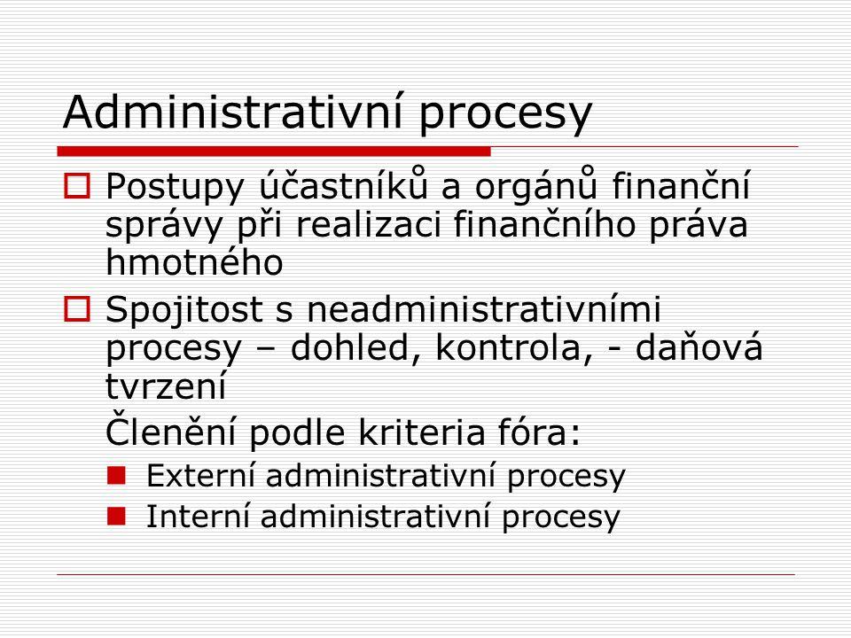 Externí administrativní procesy  Realizace finančního práva hmotného formalizovanými procesy, kdy její výsledek je přímo adresován vně daný orgán finanční správy  Vůči neurčitému okruhu adresátů – normotvorné akty  Vůči konkrétním adresátům v konkrétních věcech – formy individuálních finančněsprávních aktů