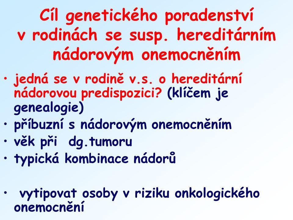 Cíl genetického poradenství v rodinách se susp. hereditárním nádorovým onemocněním jedná se v rodině v.s. o hereditární nádorovou predispozici? (klíče