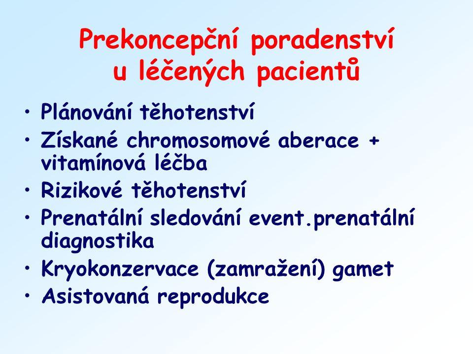 Prekoncepční poradenství u léčených pacientů Plánování těhotenství Získané chromosomové aberace + vitamínová léčba Rizikové těhotenství Prenatální sle