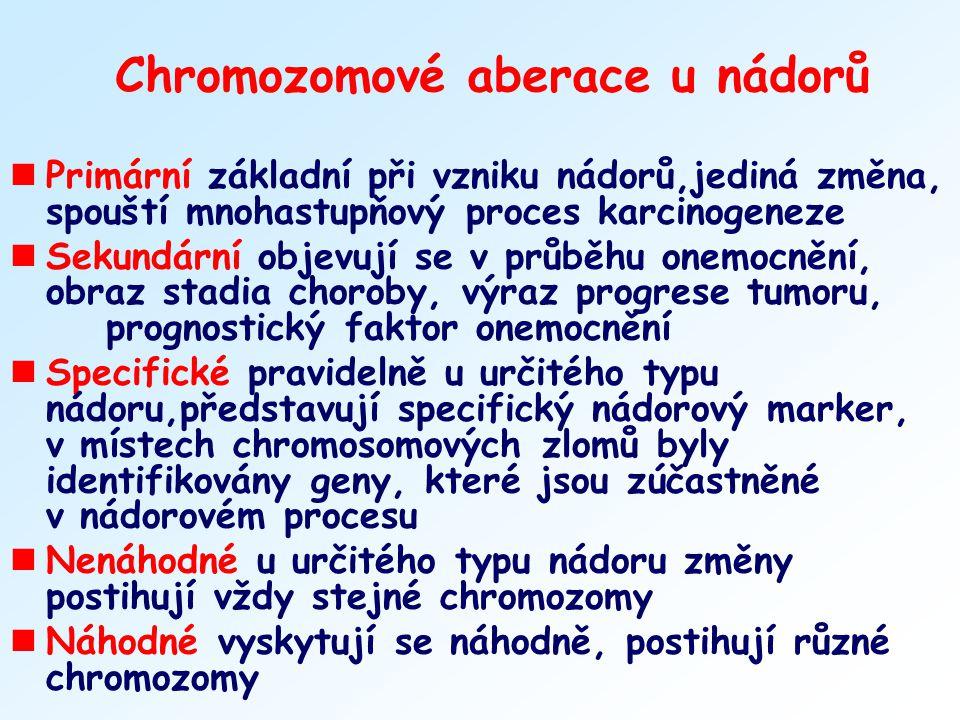 Chromozomové aberace u nádorů nPrimární základní při vzniku nádorů,jediná změna, spouští mnohastupňový proces karcinogeneze nSekundární objevují se v