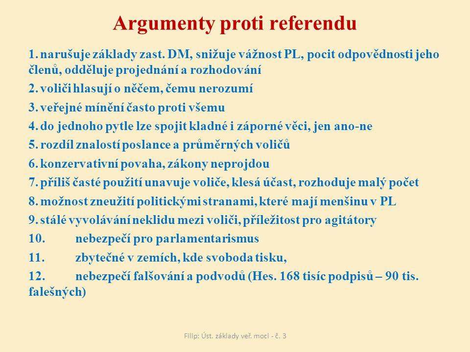 Argumenty proti referendu 1.narušuje základy zast.