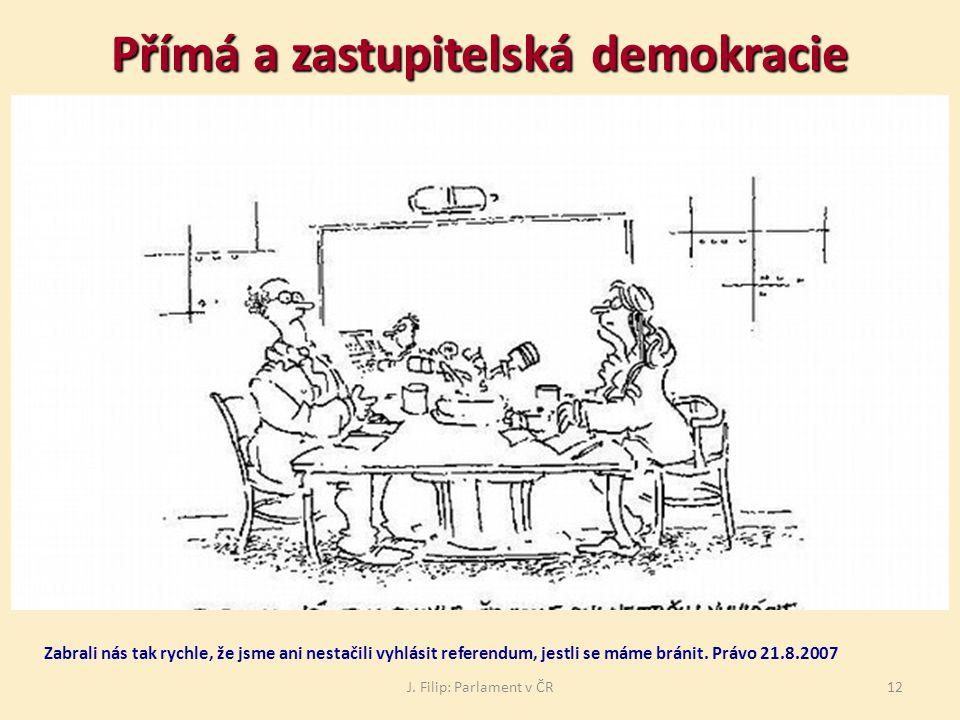J. Filip: Parlament v ČR12 Přímá a zastupitelská demokracie Zabrali nás tak rychle, že jsme ani nestačili vyhlásit referendum, jestli se máme bránit.