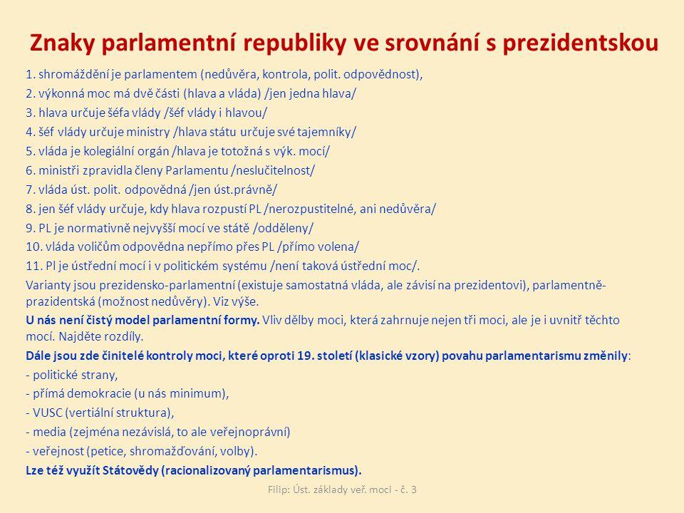 Znaky parlamentní republiky ve srovnání s prezidentskou 1.