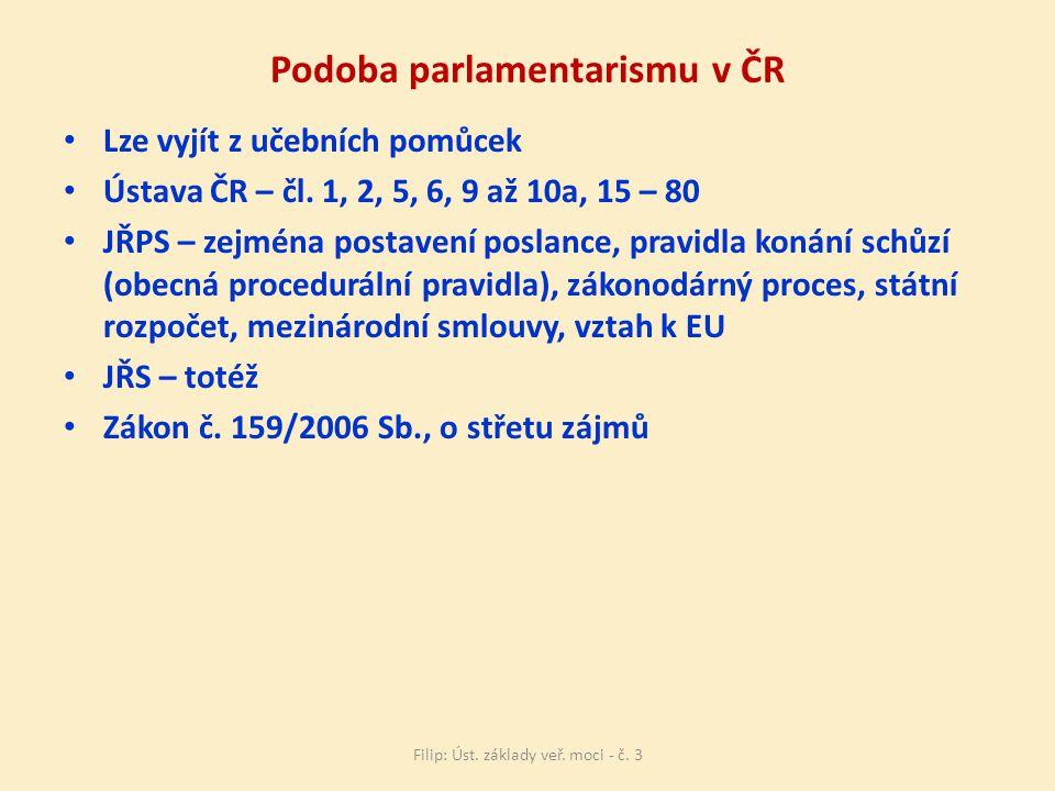 Podoba parlamentarismu v ČR Lze vyjít z učebních pomůcek Ústava ČR – čl.