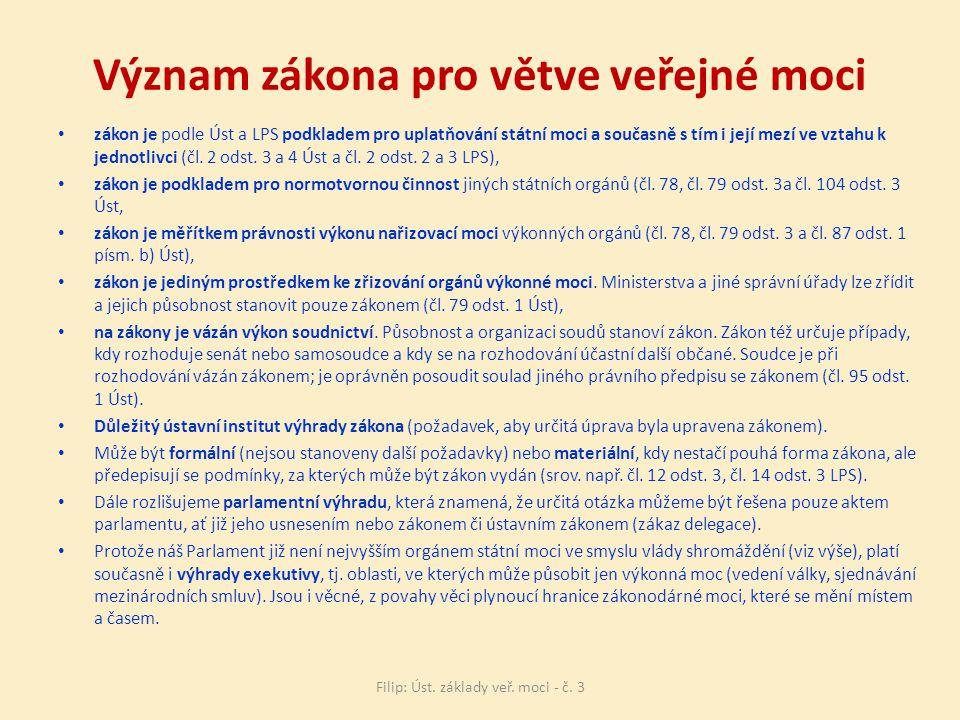Význam zákona pro větve veřejné moci zákon je podle Úst a LPS podkladem pro uplatňování státní moci a současně s tím i její mezí ve vztahu k jednotlivci (čl.