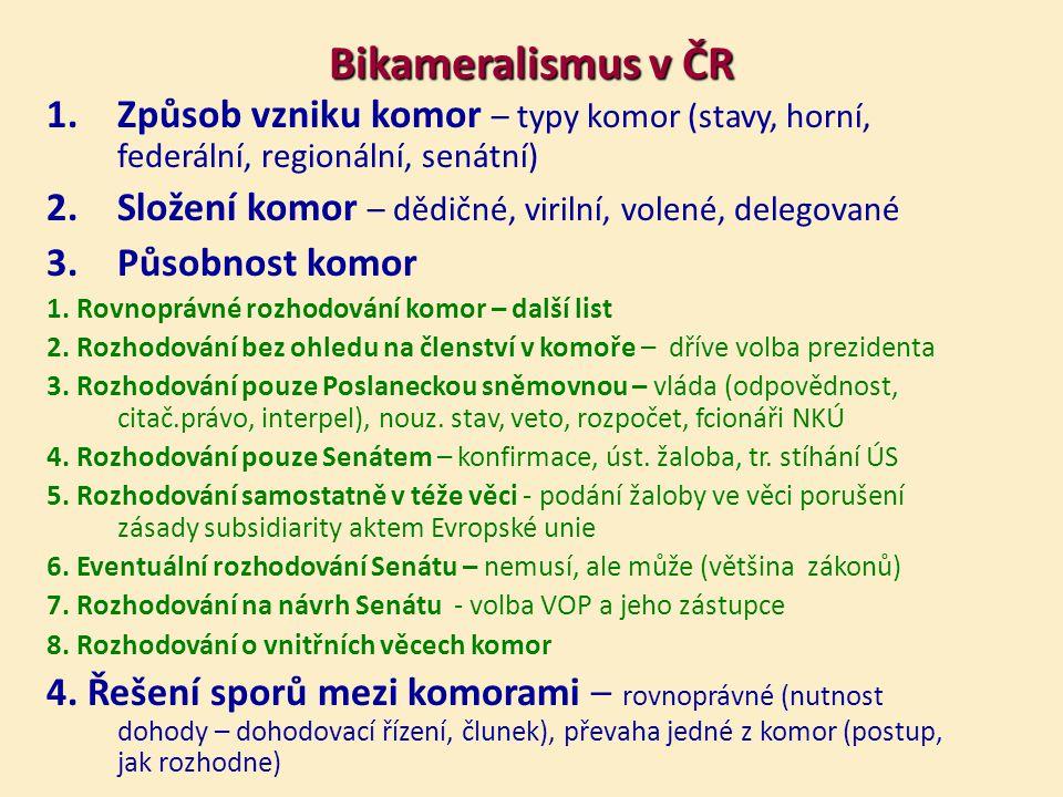 Bikameralismus v ČR 1.Způsob vzniku komor – typy komor (stavy, horní, federální, regionální, senátní) 2.Složení komor – dědičné, virilní, volené, delegované 3.Působnost komor 1.