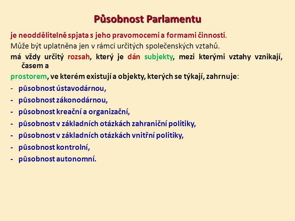 Působnost Parlamentu je neoddělitelně spjata s jeho pravomocemi a formami činnosti.