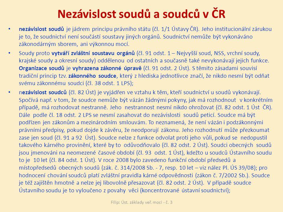 Nezávislost soudů a soudců v ČR nezávislost soudů je jádrem principu právního státu (čl.