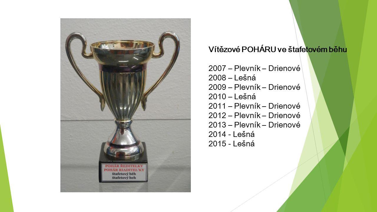 Vítězové POHÁRU ve štafetovém běhu 2007 – Plevník – Drienové 2008 – Lešná 2009 – Plevník – Drienové 2010 – Lešná 2011 – Plevník – Drienové 2012 – Plev