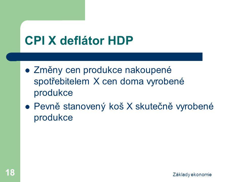 Základy ekonomie 18 CPI X deflátor HDP Změny cen produkce nakoupené spotřebitelem X cen doma vyrobené produkce Pevně stanovený koš X skutečně vyrobené