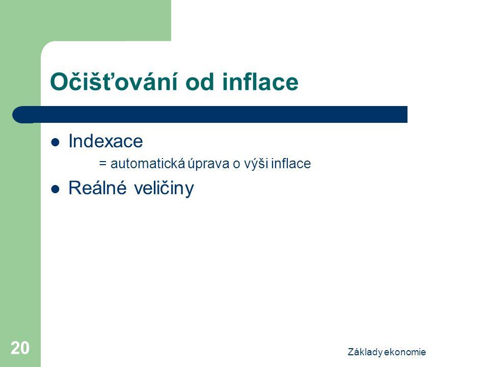 Základy ekonomie 20 Očišťování od inflace Indexace = automatická úprava o výši inflace Reálné veličiny