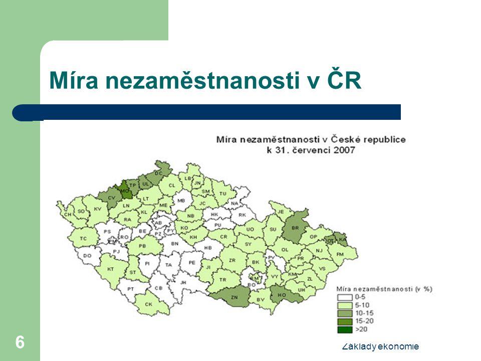 Základy ekonomie 6 Míra nezaměstnanosti v ČR