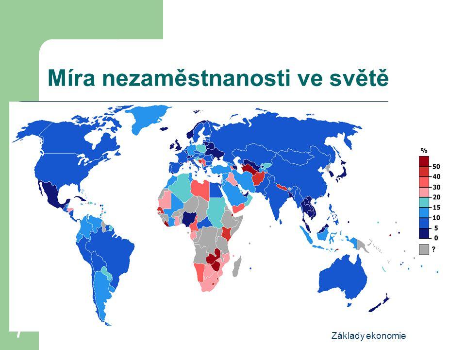 Základy ekonomie 7 Míra nezaměstnanosti ve světě