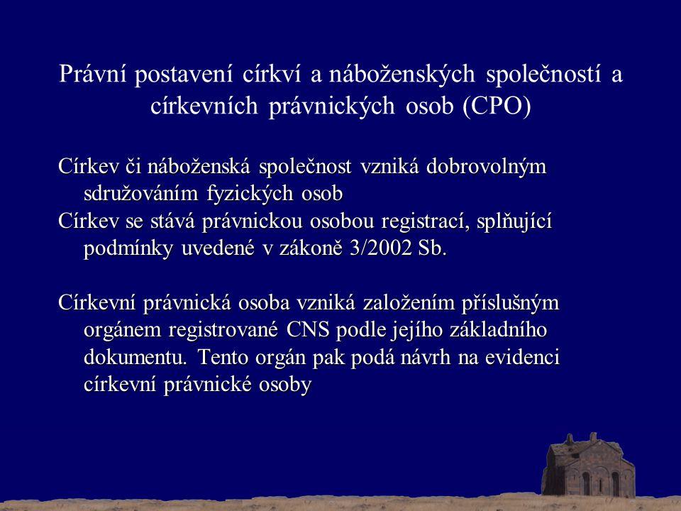 Právní postavení církví a náboženských společností a církevních právnických osob (CPO) Církev či náboženská společnost vzniká dobrovolným sdružováním