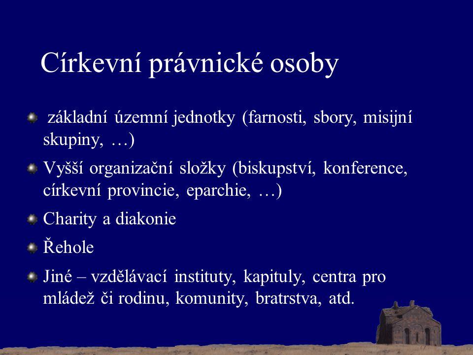 Církevní právnické osoby základní územní jednotky (farnosti, sbory, misijní skupiny, …) Vyšší organizační složky (biskupství, konference, církevní pro