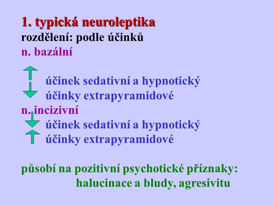 1. typická neuroleptika rozdělení: podle účinků n. bazální účinek sedativní a hypnotický účinky extrapyramidové n. incizivní účinek sedativní a hypnot