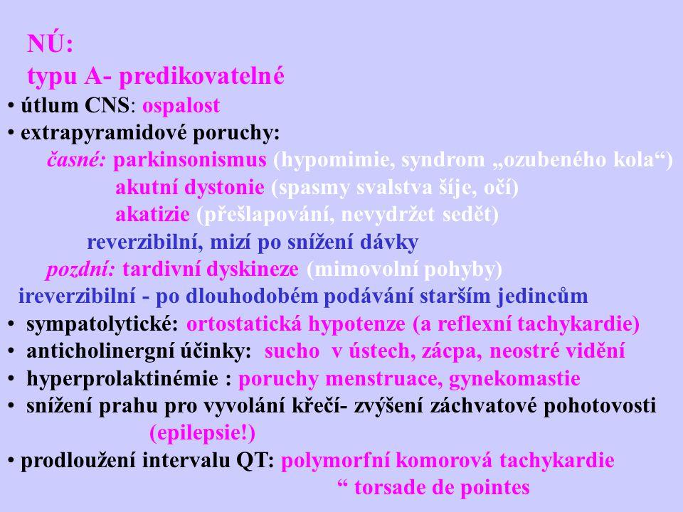 """NÚ: typu A- predikovatelné útlum CNS: ospalost extrapyramidové poruchy: časné: parkinsonismus (hypomimie, syndrom """"ozubeného kola"""") akutní dystonie (s"""