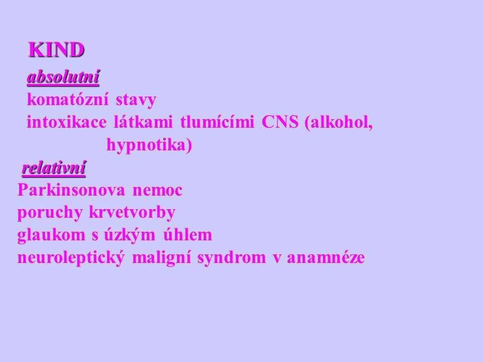 KIND KIND absolutní absolutní komatózní stavy intoxikace látkami tlumícími CNS (alkohol, hypnotika) relativní Parkinsonova nemoc poruchy krvetvorby gl
