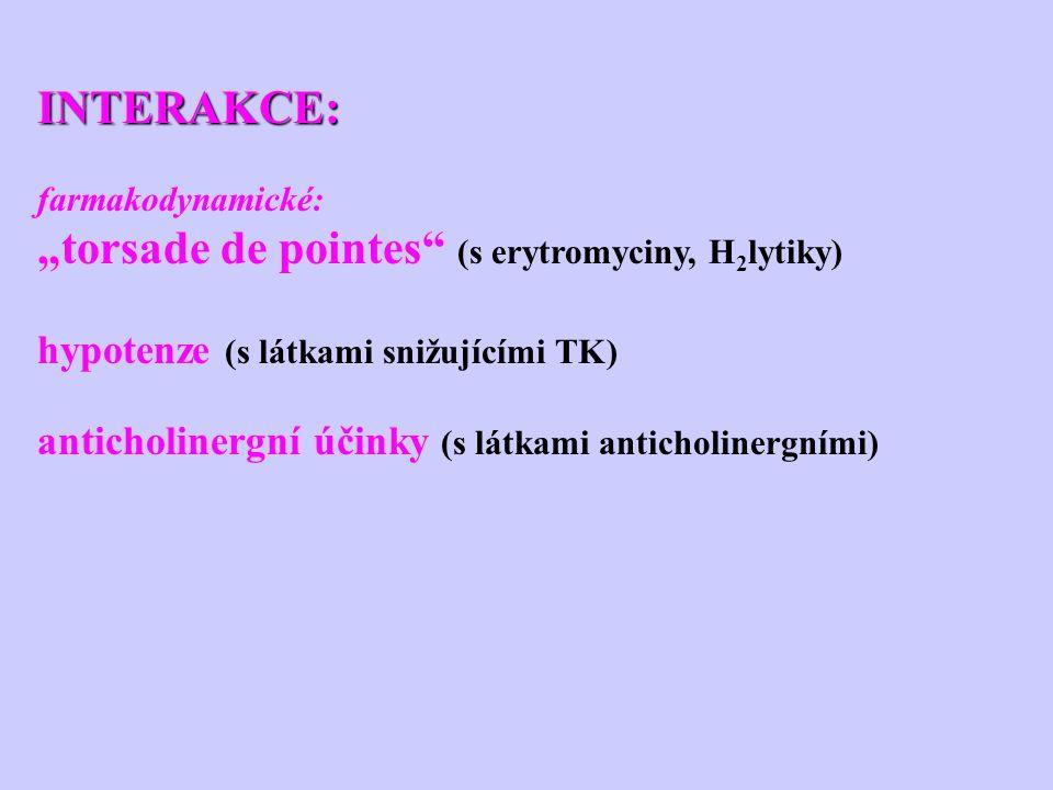 """INTERAKCE: farmakodynamické: """"torsade de pointes"""" (s erytromyciny, H 2 lytiky) hypotenze (s látkami snižujícími TK) anticholinergní účinky (s látkami"""