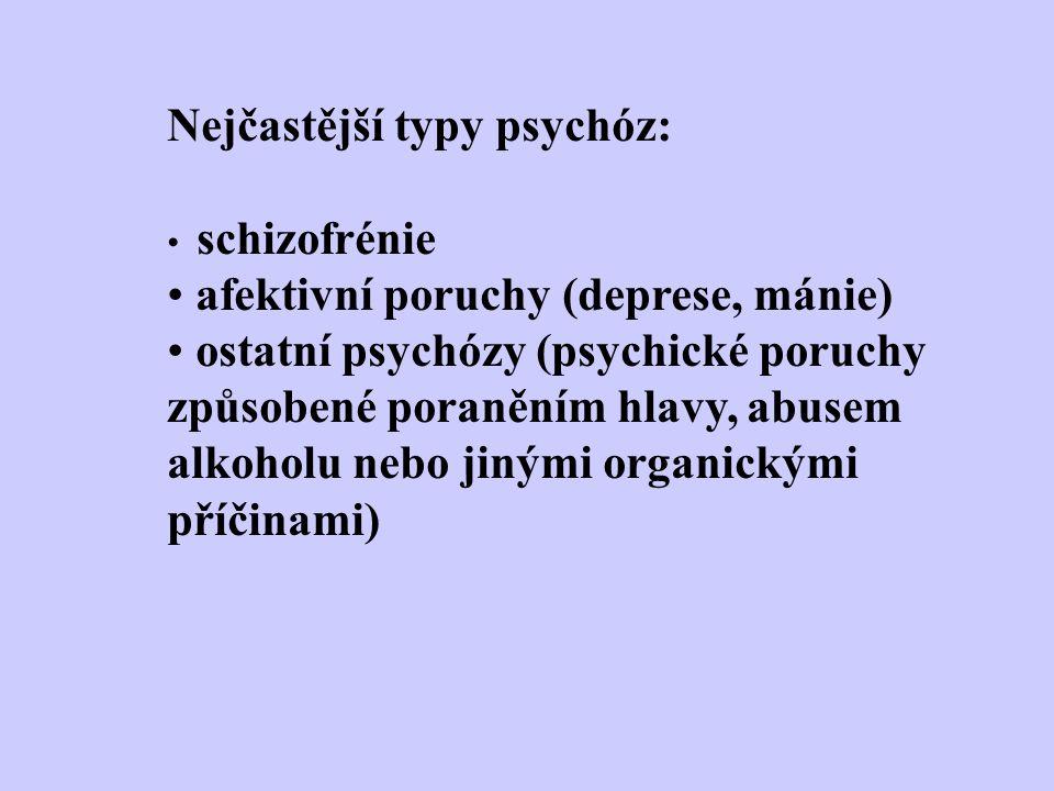 Nejčastější typy psychóz: schizofrénie afektivní poruchy (deprese, mánie) ostatní psychózy (psychické poruchy způsobené poraněním hlavy, abusem alkoho