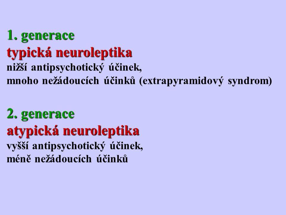 1. generace typická neuroleptika nižší antipsychotický účinek, mnoho nežádoucích účinků (extrapyramidový syndrom) 2. generace atypická neuroleptika vy