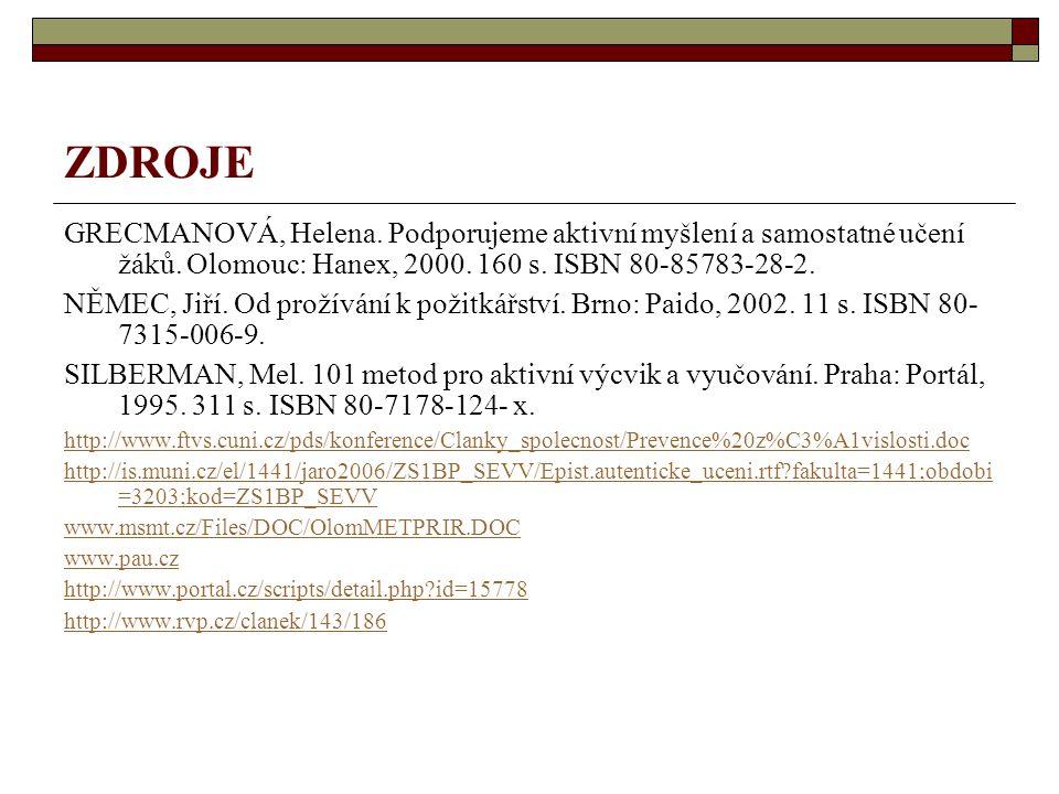 ZDROJE GRECMANOVÁ, Helena. Podporujeme aktivní myšlení a samostatné učení žáků. Olomouc: Hanex, 2000. 160 s. ISBN 80-85783-28-2. NĚMEC, Jiří. Od proží