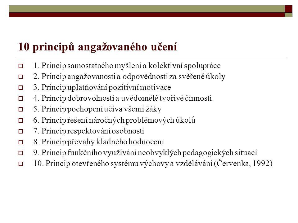 10 principů angažovaného učení  1. Princip samostatného myšlení a kolektivní spolupráce  2. Princip angažovanosti a odpovědnosti za svěřené úkoly 