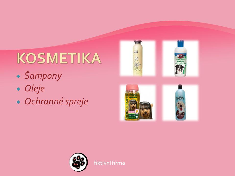  Šampony  Oleje  Ochranné spreje fiktivní firma
