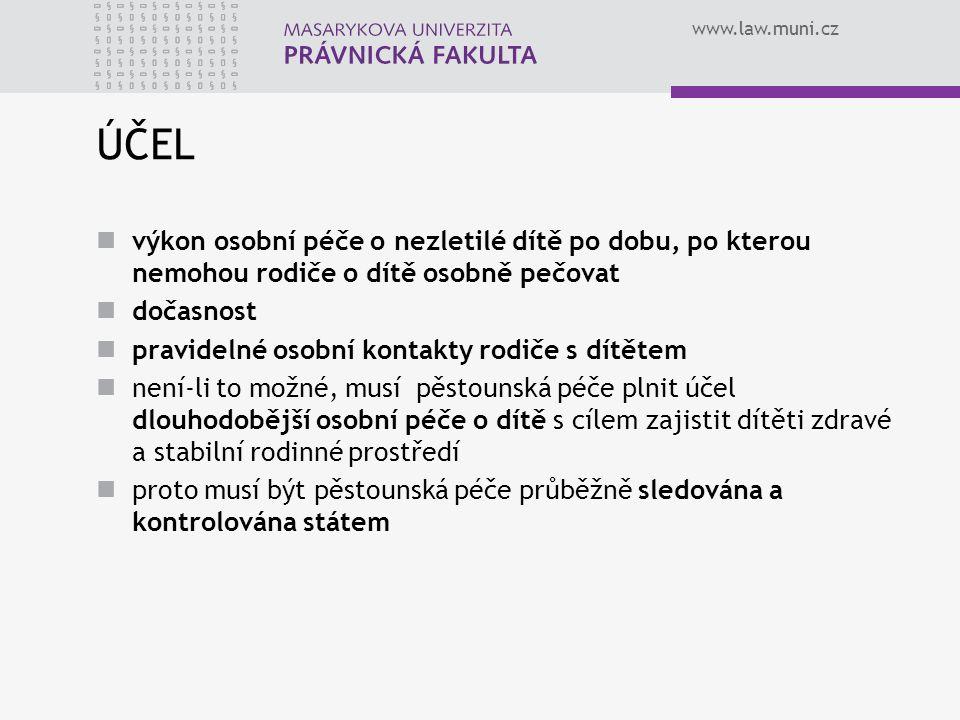 www.law.muni.cz ÚČEL výkon osobní péče o nezletilé dítě po dobu, po kterou nemohou rodiče o dítě osobně pečovat dočasnost pravidelné osobní kontakty r