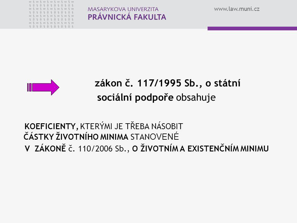 www.law.muni.cz zákon č. 117/1995 Sb., o státní sociální podpoře obsahuje KOEFICIENTY, KTERÝMI JE TŘEBA NÁSOBIT ČÁSTKY ŽIVOTNÍHO MINIMA STAN OVENÉ V Z