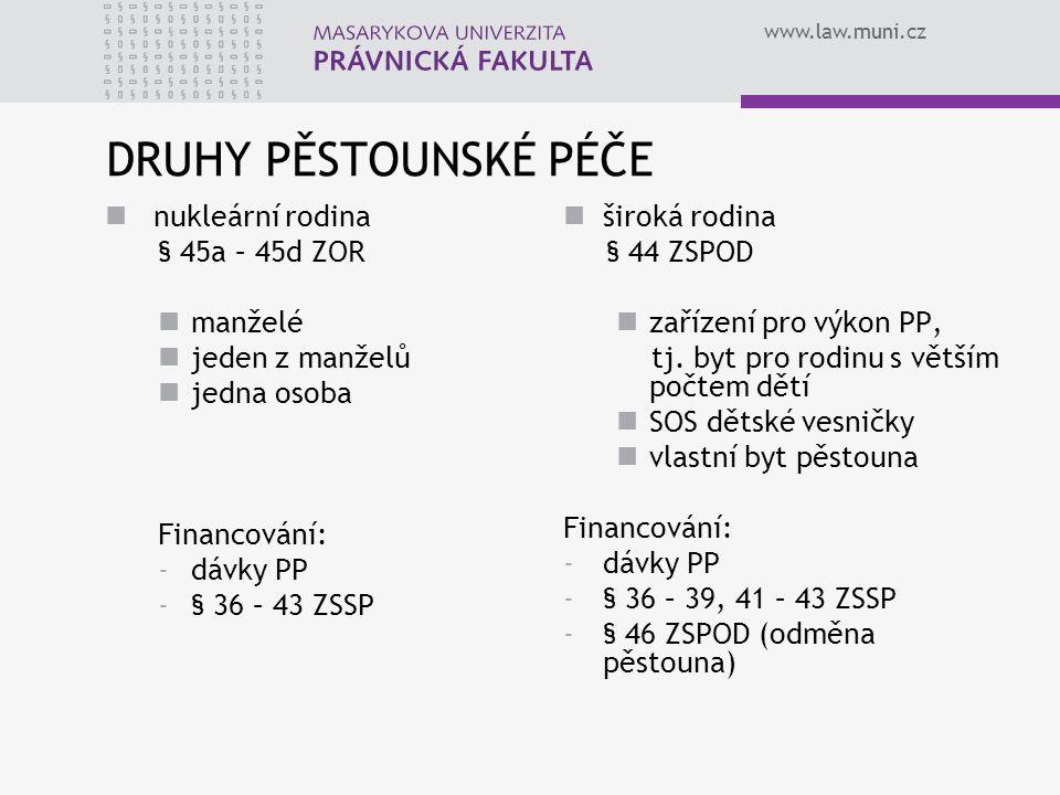 www.law.muni.cz DRUHY PĚSTOUNSKÉ PÉČE nukleární rodina § 45a – 45d ZOR manželé jeden z manželů jedna osoba Financování: -dávky PP -§ 36 – 43 ZSSP široká rodina § 44 ZSPOD zařízení pro výkon PP, tj.