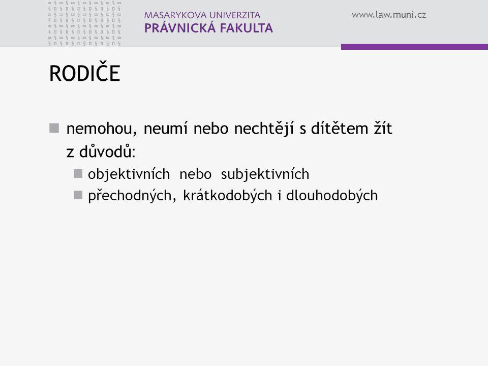 www.law.muni.cz RODIČE nemohou, neumí nebo nechtějí s dítětem žít z důvodů : objektivních nebo subjektivních přechodných, krátkodobých i dlouhodobých