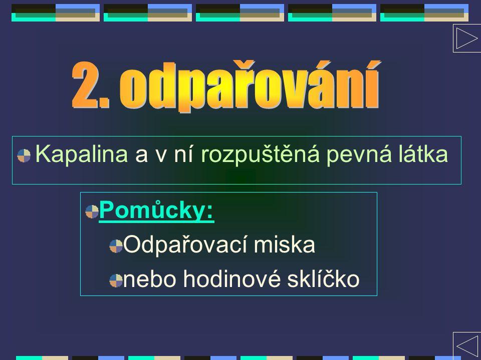 Kapalina a v ní rozpuštěná pevná látka Pomůcky: Chladič Baňka Kádinka