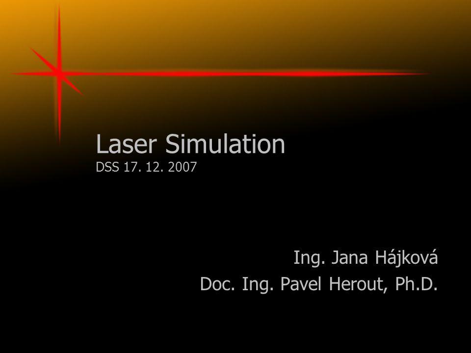 Laser Simulation DSS 17. 12. 2007 Ing. Jana Hájková Doc. Ing. Pavel Herout, Ph.D.