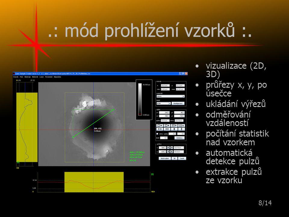 8/14.: mód prohlížení vzorků :.