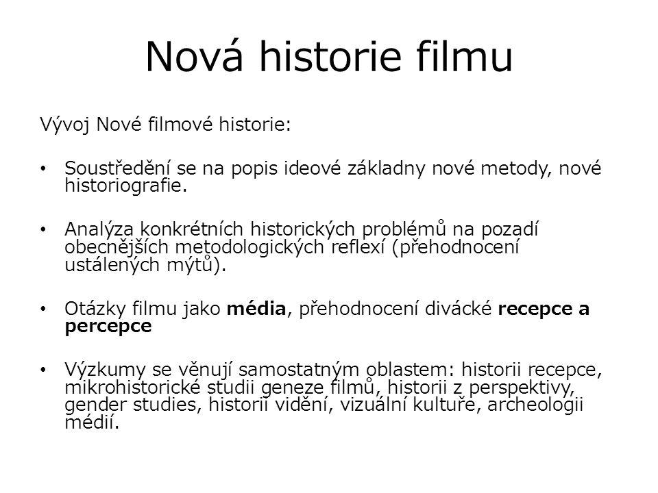Nová historie filmu Vývoj Nové filmové historie: Soustředění se na popis ideové základny nové metody, nové historiografie. Analýza konkrétních histori