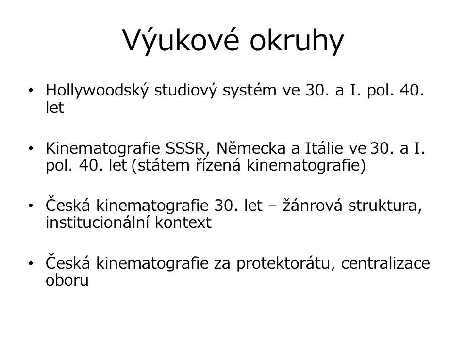 Výukové okruhy Hollywoodský studiový systém ve 30. a I. pol. 40. let Kinematografie SSSR, Německa a Itálie ve 30. a I. pol. 40. let (státem řízená kin