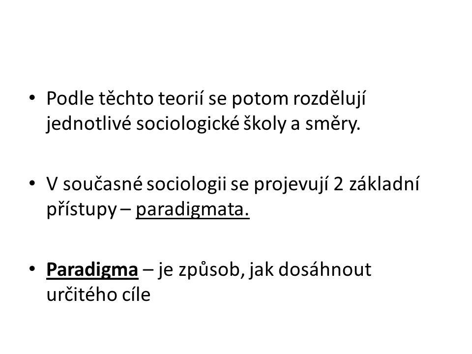 Podle těchto teorií se potom rozdělují jednotlivé sociologické školy a směry.