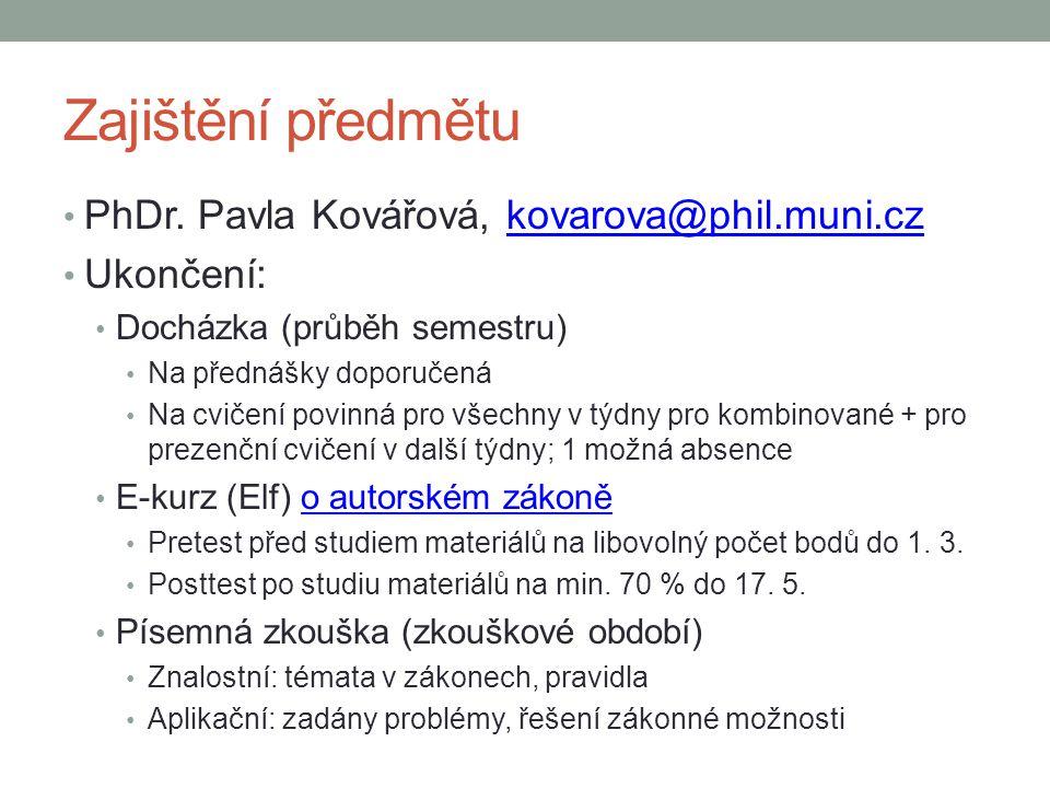 Zajištění předmětu PhDr. Pavla Kovářová, kovarova@phil.muni.czkovarova@phil.muni.cz Ukončení: Docházka (průběh semestru) Na přednášky doporučená Na cv
