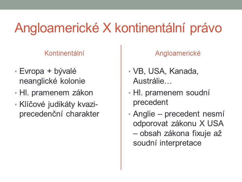 Angloamerické X kontinentální právo Kontinentální Evropa + bývalé neanglické kolonie Hl. pramenem zákon Klíčové judikáty kvazi- precedenční charakter