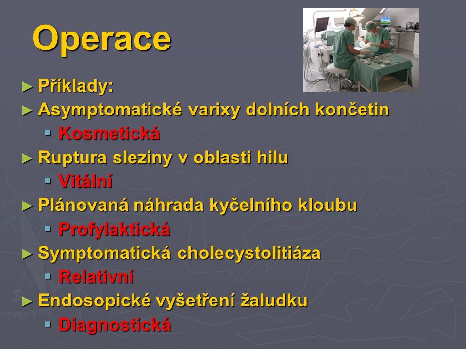 Operace ► Příklady: ► Asymptomatické varixy dolních končetin  Kosmetická ► Ruptura sleziny v oblasti hilu  Vitální ► Plánovaná náhrada kyčelního kloubu  Profylaktická ► Symptomatická cholecystolitiáza  Relativní ► Endosopické vyšetření žaludku  Diagnostická