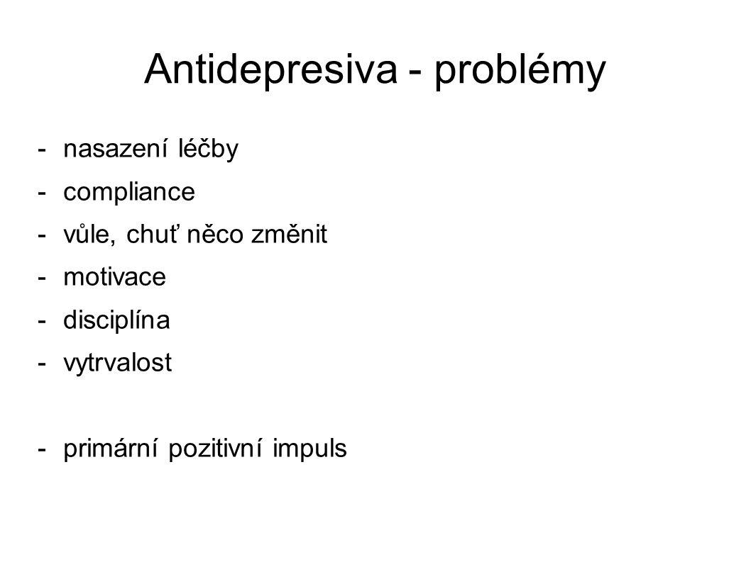Antidepresiva – zkušenost pacienta 1 -má to vůbec smysl -nechci někomu cizímu vykládat své problémy -nechci brát prášky -beru prášky už 14 dní a pořád nic -ono to nefunguje, přestanu to brát -kamarádi mi poradili léčitele -léčitel mi nic nedal -přepiju to