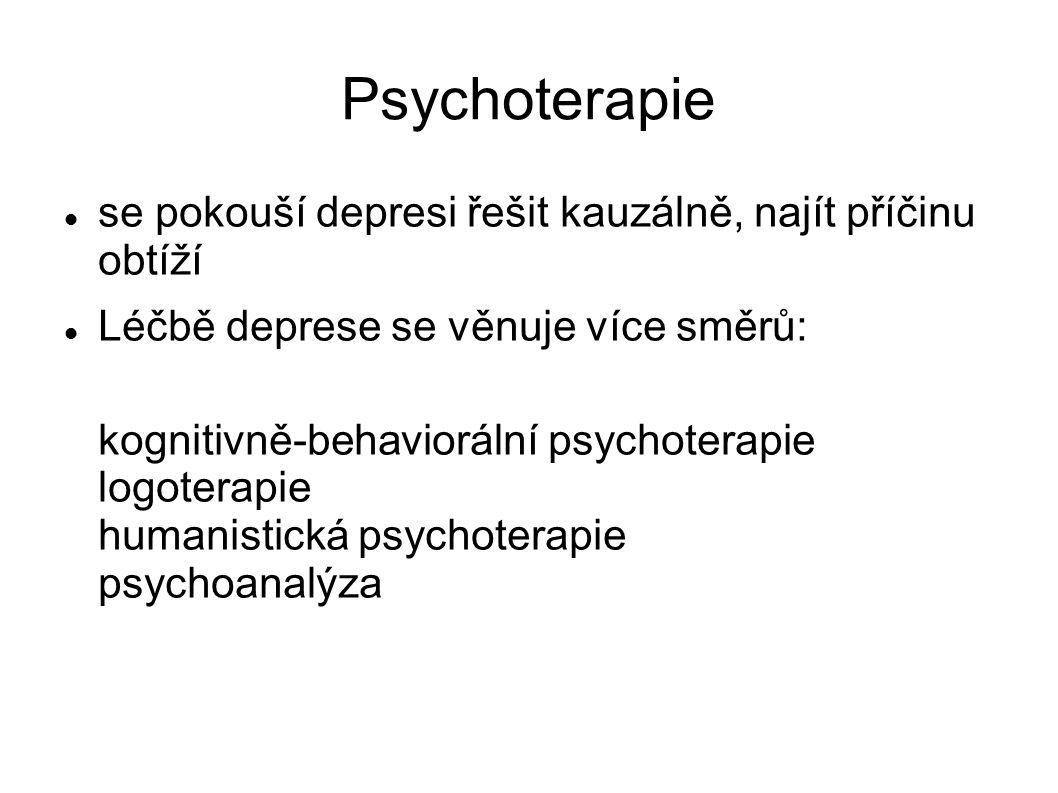 Psychoterapie se pokouší depresi řešit kauzálně, najít příčinu obtíží Léčbě deprese se věnuje více směrů: kognitivně-behaviorální psychoterapie logote