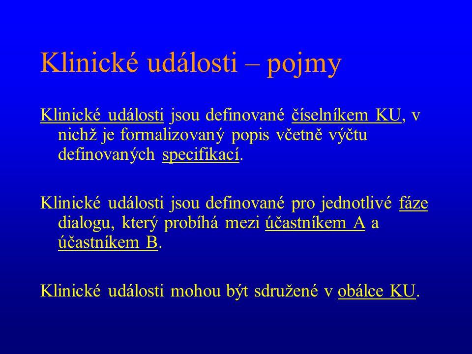 Klinické události – pojmy Klinické události jsou definované číselníkem KU, v nichž je formalizovaný popis včetně výčtu definovaných specifikací. Klini