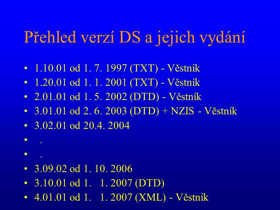 Přehled verzí DS a jejich vydání 1.10.01 od 1. 7. 1997 (TXT) - Věstník 1.20.01 od 1. 1. 2001 (TXT) - Věstník 2.01.01 od 1. 5. 2002 (DTD) - Věstník 3.0