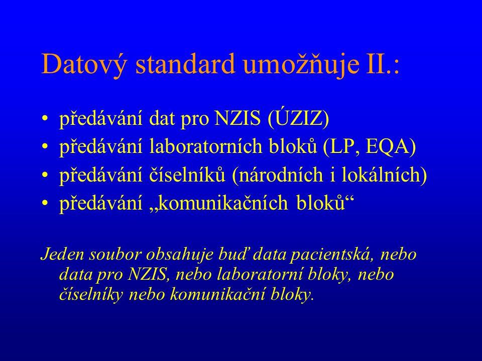 """Datový standard umožňuje II.: předávání dat pro NZIS (ÚZIZ) předávání laboratorních bloků (LP, EQA) předávání číselníků (národních i lokálních) předávání """"komunikačních bloků Jeden soubor obsahuje buď data pacientská, nebo data pro NZIS, nebo laboratorní bloky, nebo číselníky nebo komunikační bloky."""