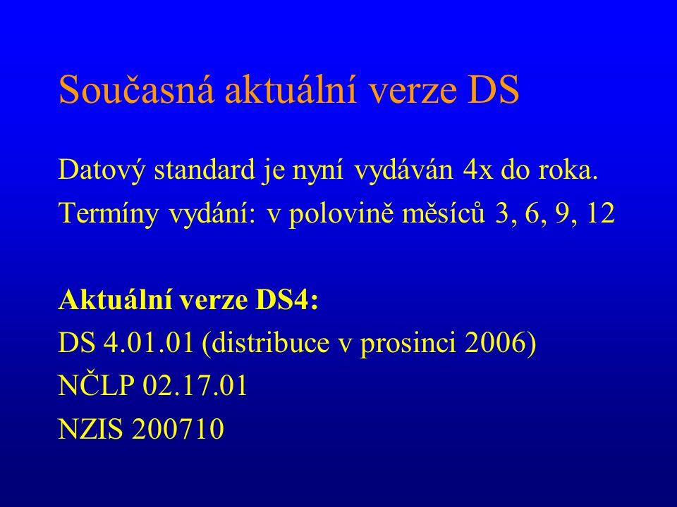 Současná aktuální verze DS Datový standard je nyní vydáván 4x do roka. Termíny vydání: v polovině měsíců 3, 6, 9, 12 Aktuální verze DS4: DS 4.01.01 (d