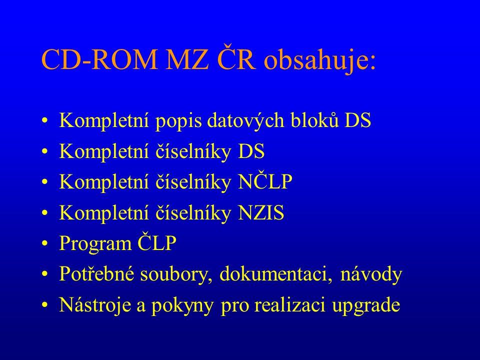 CD-ROM MZ ČR obsahuje: Kompletní popis datových bloků DS Kompletní číselníky DS Kompletní číselníky NČLP Kompletní číselníky NZIS Program ČLP Potřebné soubory, dokumentaci, návody Nástroje a pokyny pro realizaci upgrade
